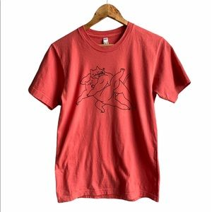 American Apparel cat T-shirt, washed red, S